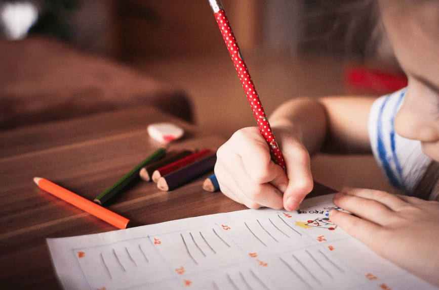 child, table, pencil, colored pencils, activity sheet